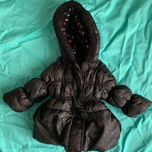12 month Pink Platinum Girls puffer jacket black